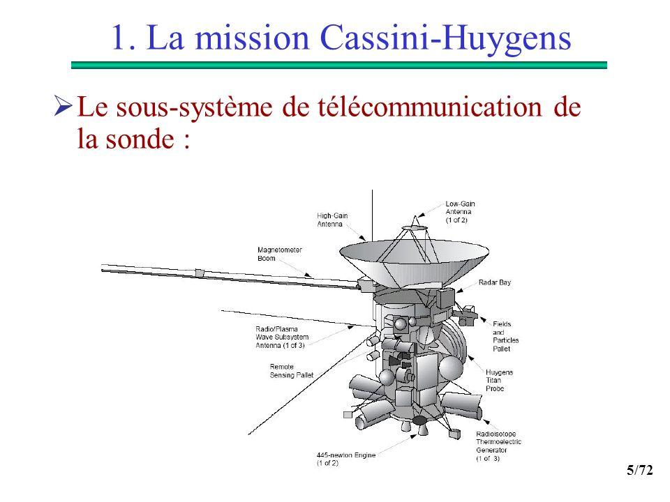 5/72 1. La mission Cassini-Huygens Le sous-système de télécommunication de la sonde :