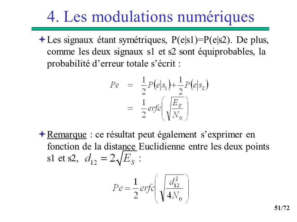 51/72 4. Les modulations numériques Les signaux étant symétriques, P(e|s1)=P(e|s2). De plus, comme les deux signaux s1 et s2 sont équiprobables, la pr