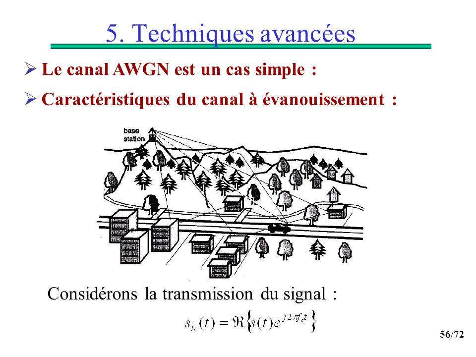 56/72 5. Techniques avancées Caractéristiques du canal à évanouissement : Considérons la transmission du signal : Le canal AWGN est un cas simple :