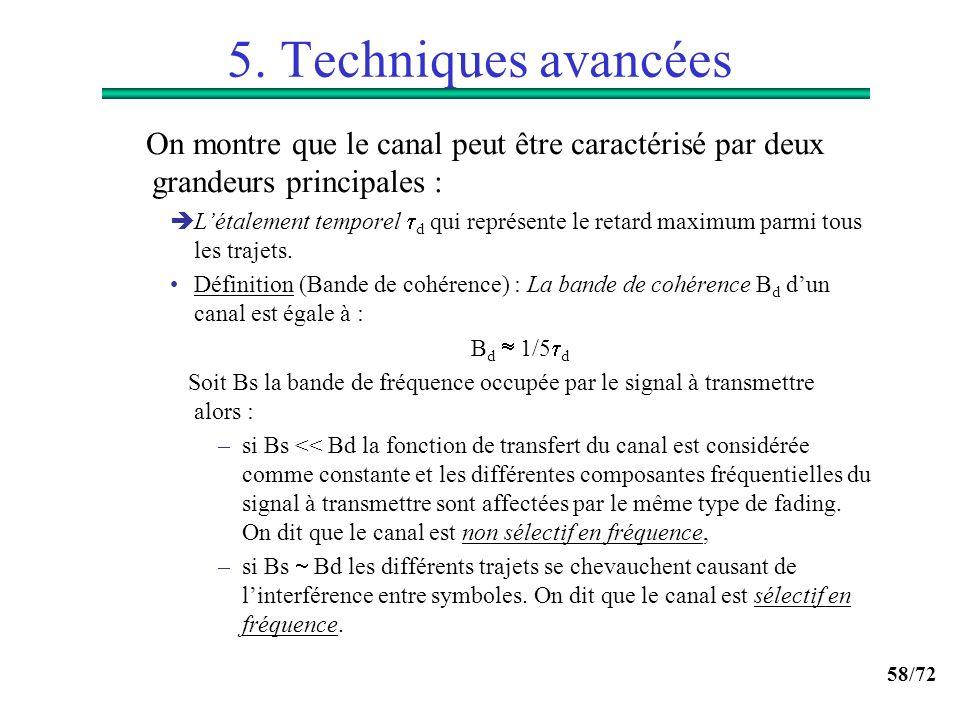 58/72 5. Techniques avancées On montre que le canal peut être caractérisé par deux grandeurs principales : Létalement temporel d qui représente le ret