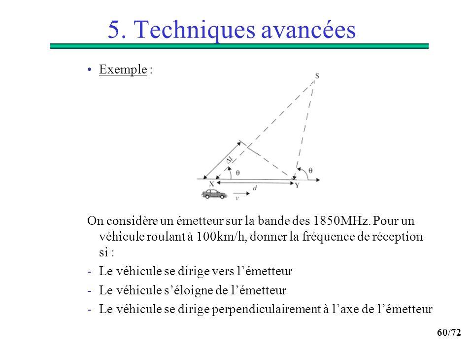 60/72 5. Techniques avancées Exemple : On considère un émetteur sur la bande des 1850MHz. Pour un véhicule roulant à 100km/h, donner la fréquence de r