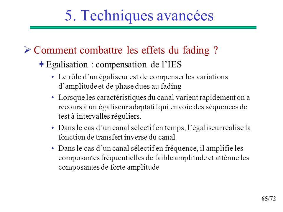 65/72 5. Techniques avancées Comment combattre les effets du fading ? Egalisation : compensation de lIES Le rôle dun égaliseur est de compenser les va