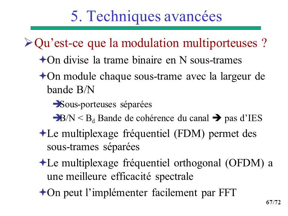 67/72 5. Techniques avancées Quest-ce que la modulation multiporteuses ? On divise la trame binaire en N sous-trames On module chaque sous-trame avec
