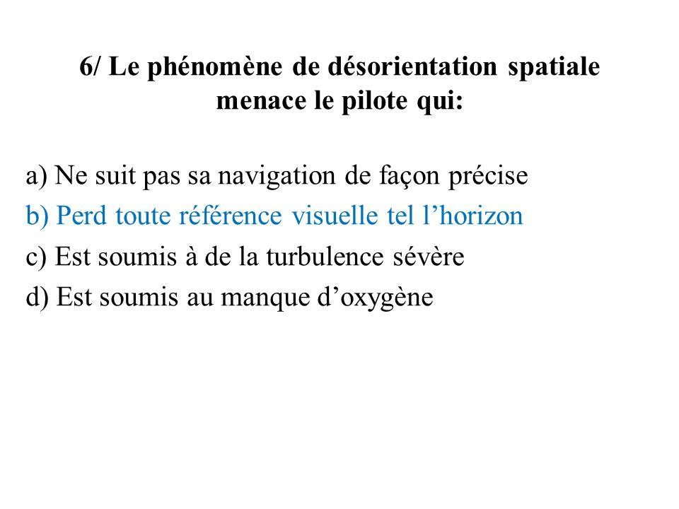 6/ Le phénomène de désorientation spatiale menace le pilote qui: a) Ne suit pas sa navigation de façon précise b) Perd toute référence visuelle tel lh