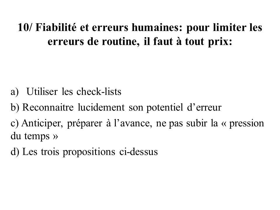 10/ Fiabilité et erreurs humaines: pour limiter les erreurs de routine, il faut à tout prix: a)Utiliser les check-lists b) Reconnaitre lucidement son