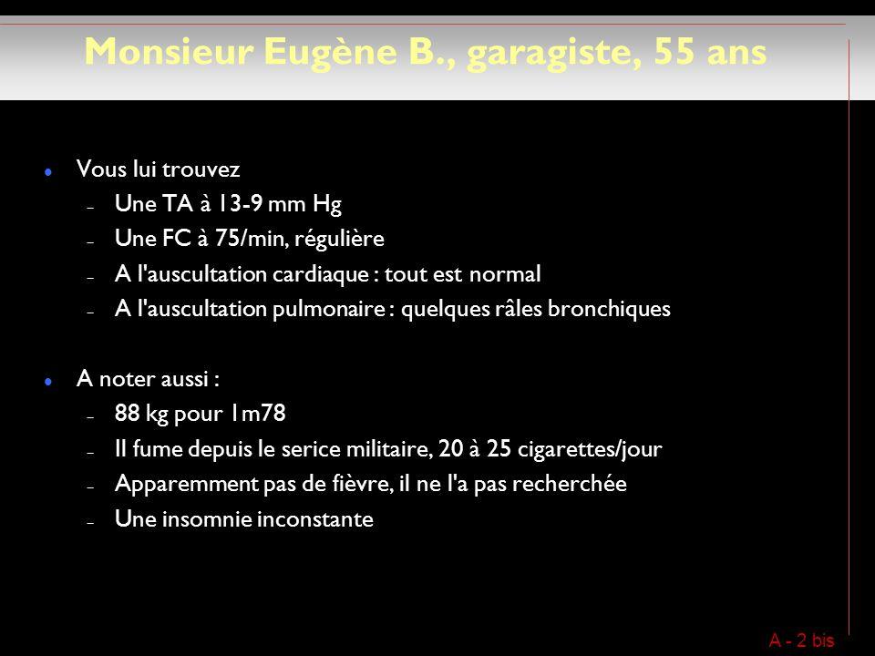 Monsieur Eugène B., garagiste, 55 ans Vous lui trouvez – Une TA à 13-9 mm Hg – Une FC à 75/min, régulière – A l auscultation cardiaque : tout est normal – A l auscultation pulmonaire : quelques râles bronchiques A noter aussi : – 88 kg pour 1m78 – Il fume depuis le serice militaire, 20 à 25 cigarettes/jour – Apparemment pas de fièvre, il ne l a pas recherchée – Une insomnie inconstante A - 2 bis