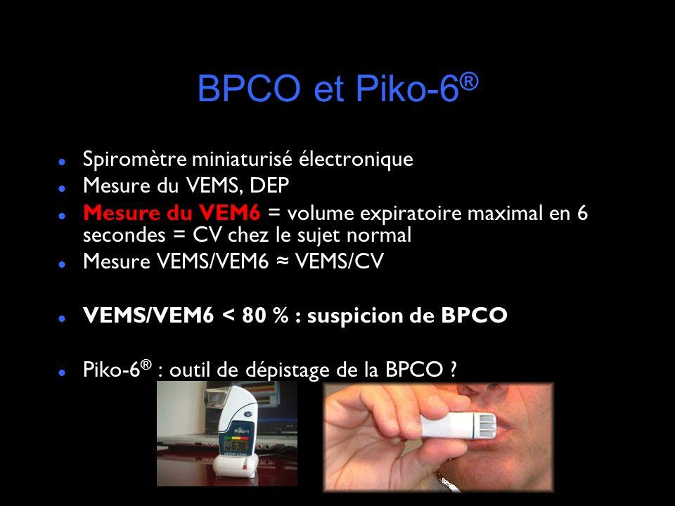 BPCO et Piko-6 ® Spiromètre miniaturisé électronique Mesure du VEMS, DEP Mesure du VEM6 = volume expiratoire maximal en 6 secondes = CV chez le sujet normal Mesure VEMS/VEM6 VEMS/CV VEMS/VEM6 < 80 % : suspicion de BPCO Piko-6 ® : outil de dépistage de la BPCO