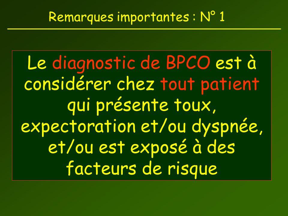 Remarques importantes : N° 1 Le diagnostic de BPCO est à considérer chez tout patient qui présente toux, expectoration et/ou dyspnée, et/ou est exposé à des facteurs de risque