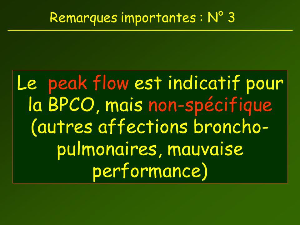 Remarques importantes : N° 3 Le peak flow est indicatif pour la BPCO, mais non-spécifique (autres affections broncho- pulmonaires, mauvaise performance)
