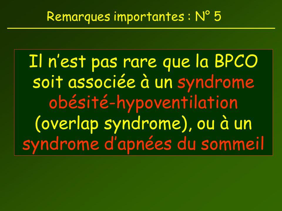 Remarques importantes : N° 5 Il nest pas rare que la BPCO soit associée à un syndrome obésité-hypoventilation (overlap syndrome), ou à un syndrome dapnées du sommeil