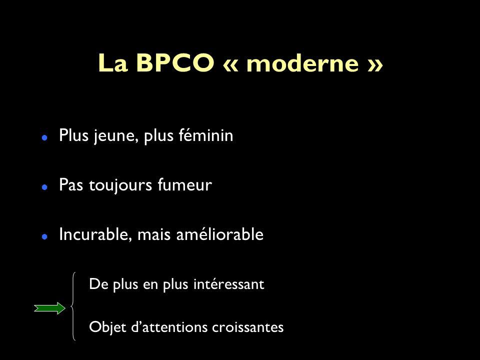 La BPCO « moderne » Plus jeune, plus féminin Pas toujours fumeur Incurable, mais améliorable De plus en plus intéressant Objet dattentions croissantes