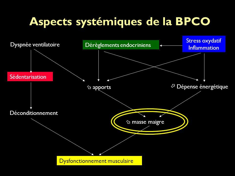 Aspects systémiques de la BPCO Déconditionnement masse maigre Dysfonctionnement musculaire Dépense énergétique apports Dérèglements endocriniens Stress oxydatif Inflammation Dyspnée ventilatoire Sédentarisation