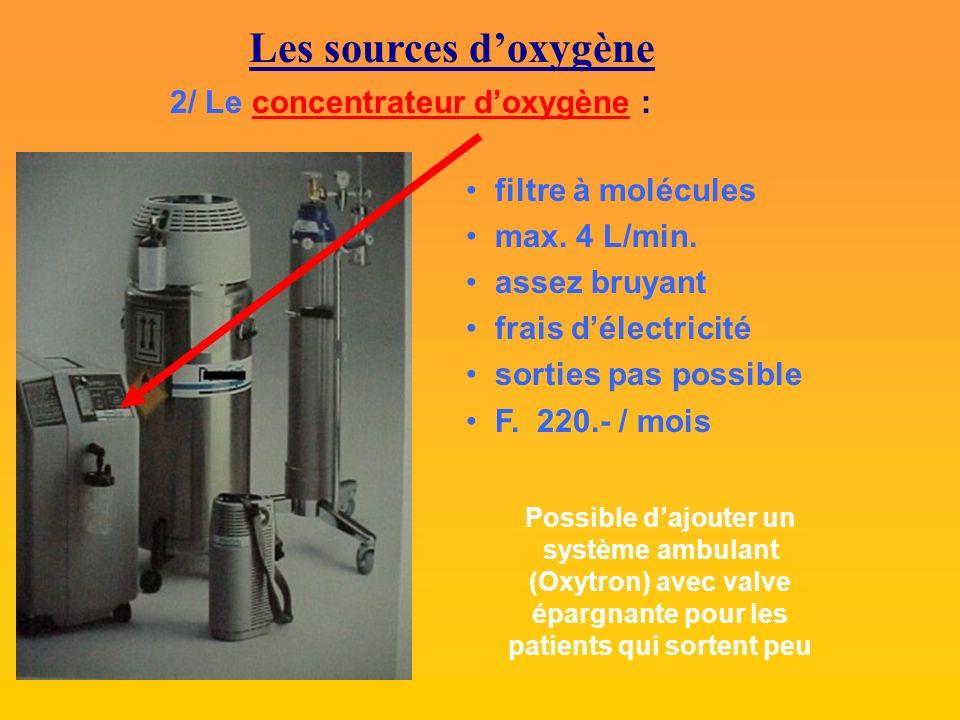 Les sources doxygène 2/ Le concentrateur doxygène : filtre à molécules max.