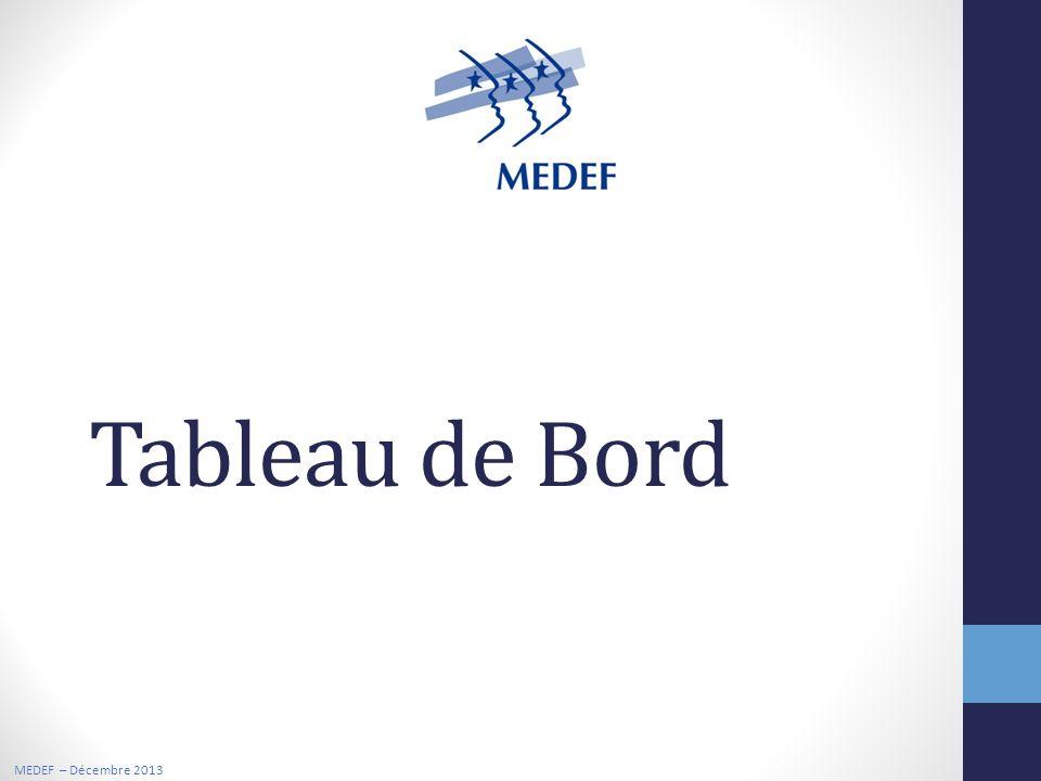 MEDEF – Décembre 2013 Tableau de Bord