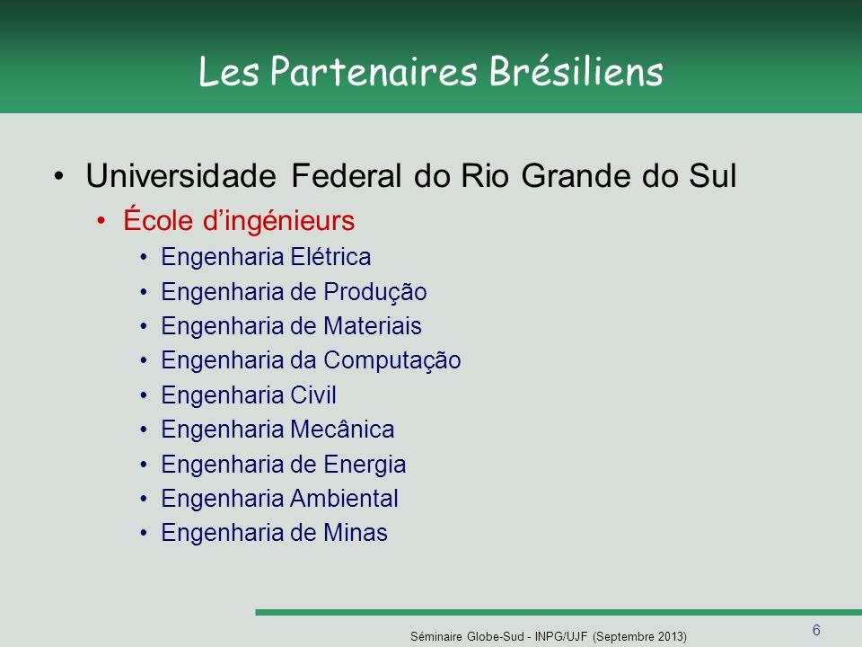 7 Séminaire Globe-Sud - INPG/UJF (Septembre 2013) Les Partenaires Brésiliens Universidade Federal do Rio Grande do Sul Institut dInformatique Ciência da Computação ( Informatique + Master) Engenharia da Computação ( Ingénieur en informatique)