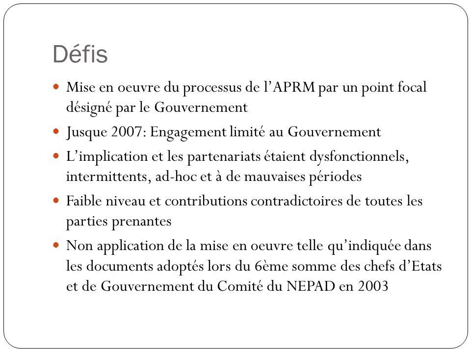 Défis Mise en oeuvre du processus de lAPRM par un point focal désigné par le Gouvernement Jusque 2007: Engagement limité au Gouvernement Limplication