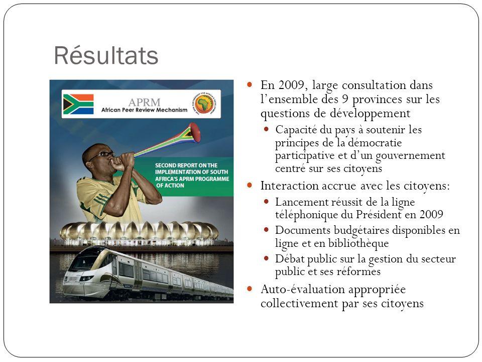 Résultats En 2009, large consultation dans lensemble des 9 provinces sur les questions de développement Capacité du pays à soutenir les principes de l