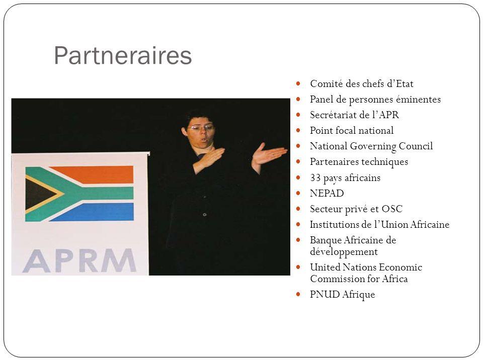 Leçons apprises Affirmation du leadership politique de lAfrique avec le NEPAD pour forger un nouveau partenariat avec tous les partenaires de développement Développement de stratégies pour déterminer comment les indicateurs d elAPRM fonctionnent avec les 12 objectifs de lAfrique du Sud, les OMD et les activités pour lesquelles lAPRM dispose dun avantage comparatif.