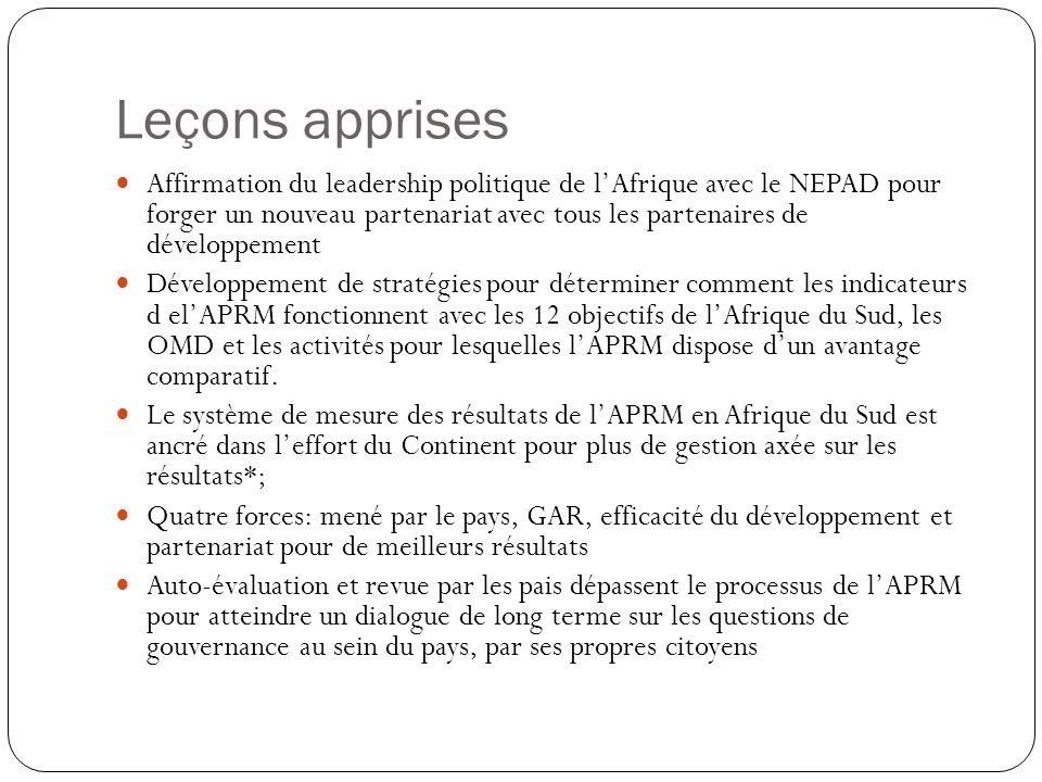 Leçons apprises Affirmation du leadership politique de lAfrique avec le NEPAD pour forger un nouveau partenariat avec tous les partenaires de développ