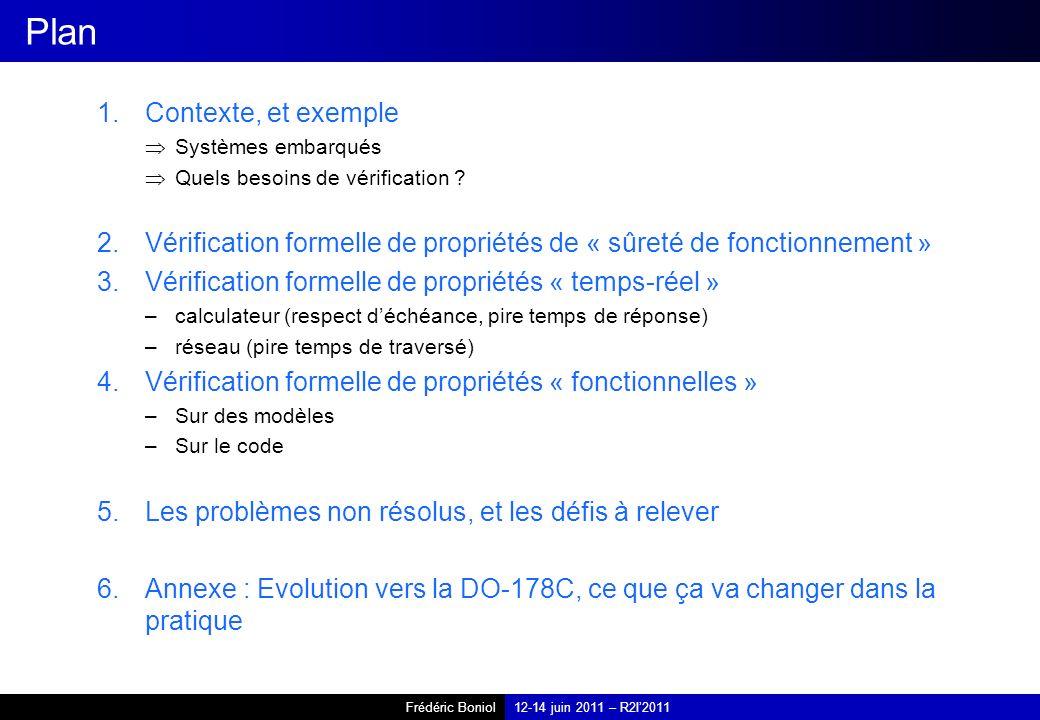 Frédéric Boniol12-14 juin 2011 – R2I2011 Plan 1.Contexte, et exemple Systèmes embarqués Quels besoins de vérification ? 2.Vérification formelle de pro