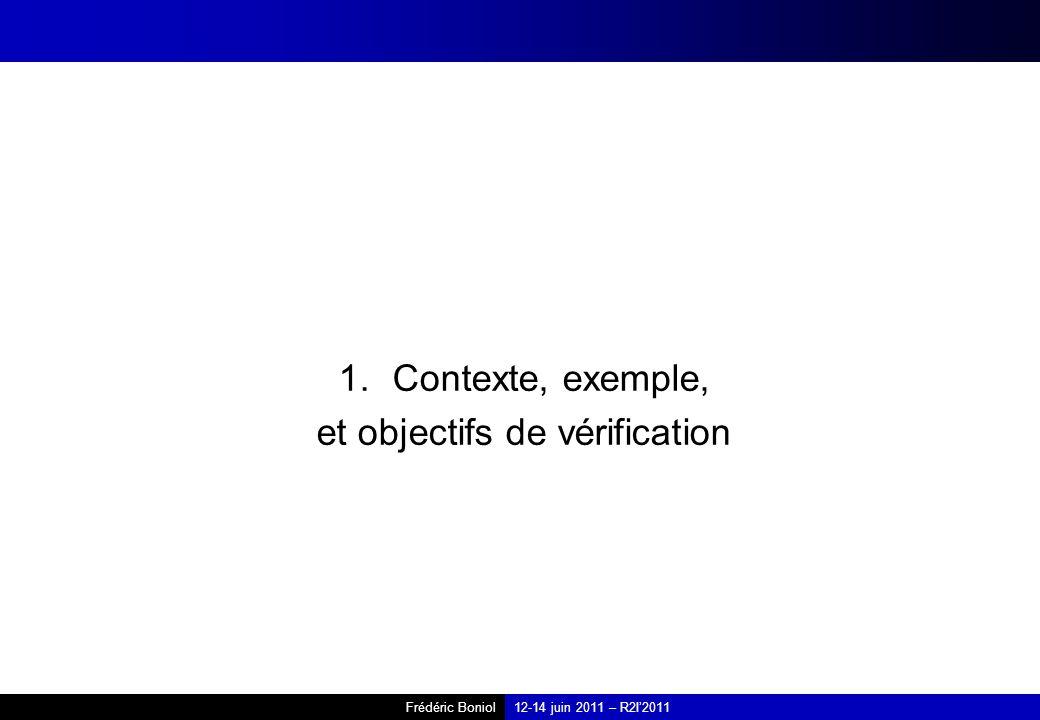 Frédéric Boniol12-14 juin 2011 – R2I2011 1.Contexte, exemple, et objectifs de vérification