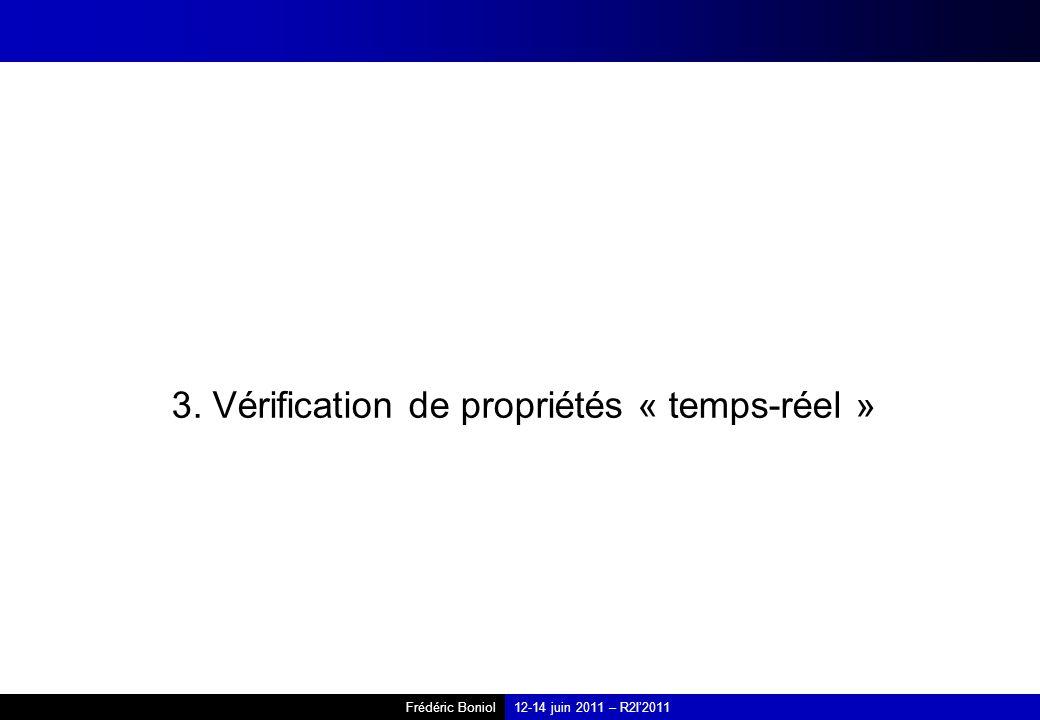 Frédéric Boniol12-14 juin 2011 – R2I2011 3. Vérification de propriétés « temps-réel »