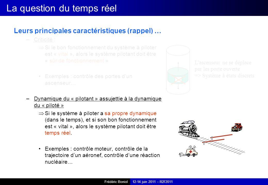 Frédéric Boniol12-14 juin 2011 – R2I2011 La question du temps réel Leurs principales caractéristiques (rappel) … –Criticité : Si le bon fonctionnement du système à piloter est « vital », alors le système pilotant doit être « sûr de fonctionnement » Exemples : contrôle des portes dun ascenseur… –Dynamique du « pilotant » assujettie à la dynamique du « piloté » Si le système à piloter a sa propre dynamique (dans le temps), et si son bon fonctionnement est « vital », alors le système pilotant doit être temps réel.
