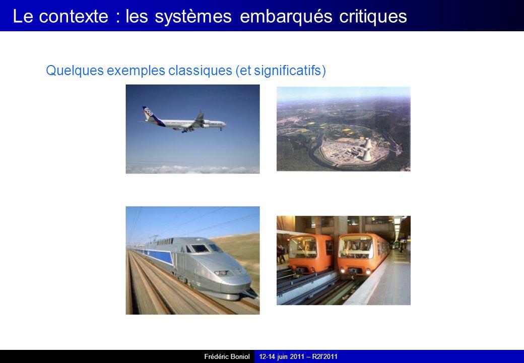 Frédéric Boniol12-14 juin 2011 – R2I2011 Le contexte : les systèmes embarqués critiques Quelques exemples classiques (et significatifs)