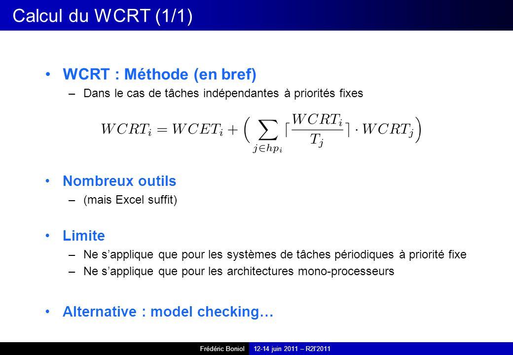 Frédéric Boniol12-14 juin 2011 – R2I2011 Calcul du WCRT (1/1) WCRT : Méthode (en bref) –Dans le cas de tâches indépendantes à priorités fixes Nombreux outils –(mais Excel suffit) Limite –Ne sapplique que pour les systèmes de tâches périodiques à priorité fixe –Ne sapplique que pour les architectures mono-processeurs Alternative : model checking…