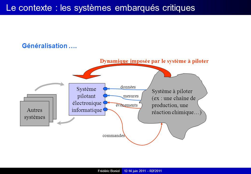 Frédéric Boniol12-14 juin 2011 – R2I2011 Le contexte : les systèmes embarqués critiques Généralisation …. Système pilotant électronique informatique S