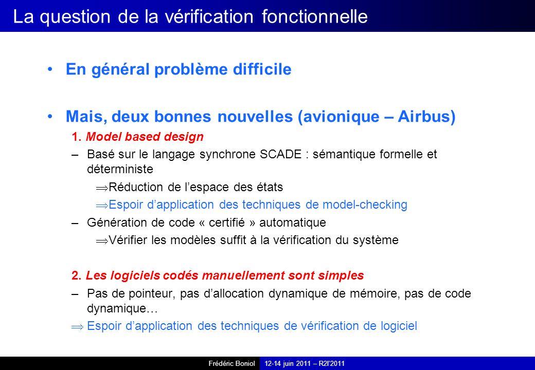 Frédéric Boniol12-14 juin 2011 – R2I2011 La question de la vérification fonctionnelle En général problème difficile Mais, deux bonnes nouvelles (avionique – Airbus) 1.