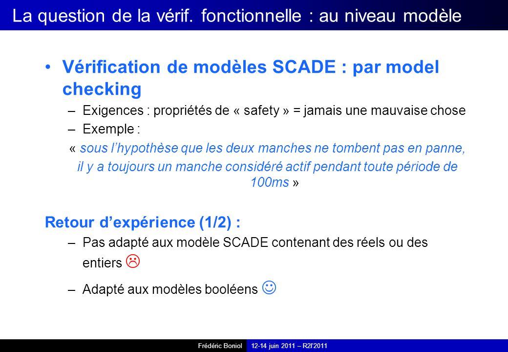 Frédéric Boniol12-14 juin 2011 – R2I2011 La question de la vérif. fonctionnelle : au niveau modèle Vérification de modèles SCADE : par model checking