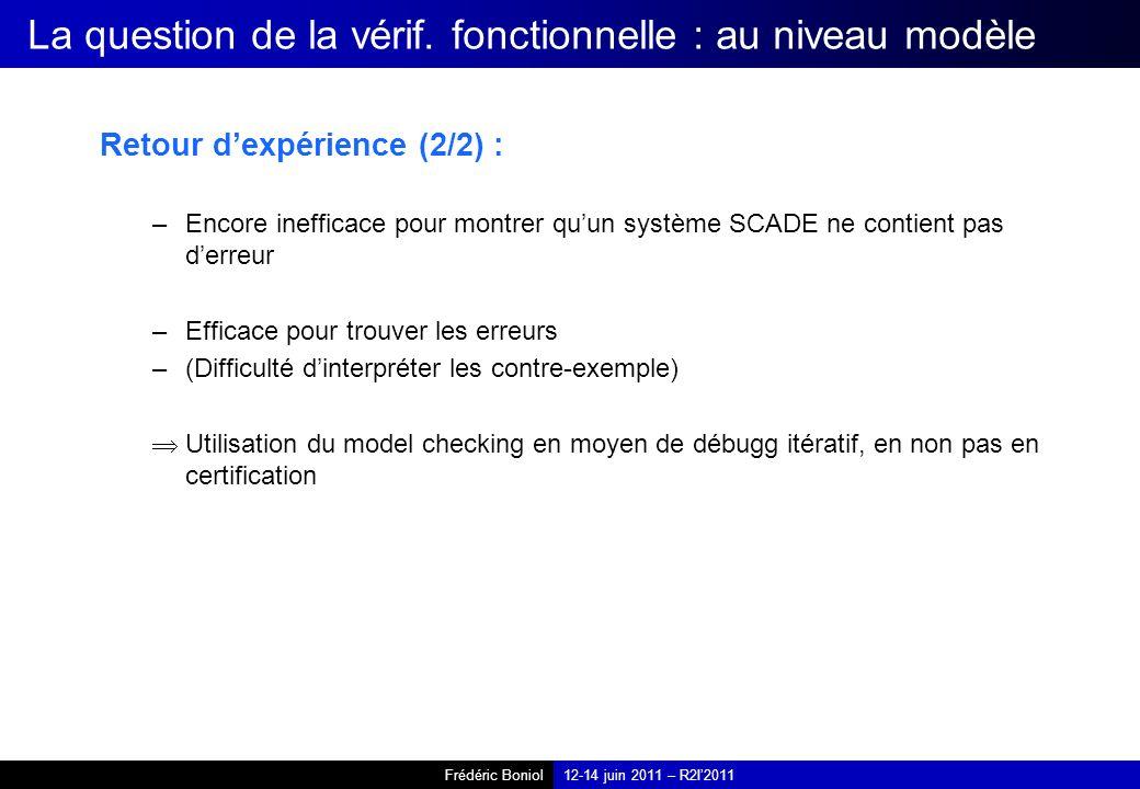 Frédéric Boniol12-14 juin 2011 – R2I2011 La question de la vérif. fonctionnelle : au niveau modèle Retour dexpérience (2/2) : –Encore inefficace pour