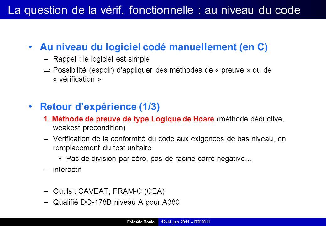 Frédéric Boniol12-14 juin 2011 – R2I2011 La question de la vérif. fonctionnelle : au niveau du code Au niveau du logiciel codé manuellement (en C) –Ra