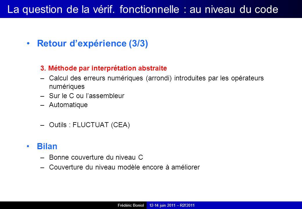 Frédéric Boniol12-14 juin 2011 – R2I2011 La question de la vérif.