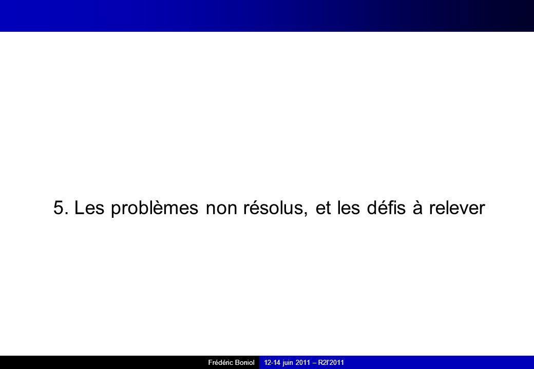 Frédéric Boniol12-14 juin 2011 – R2I2011 5. Les problèmes non résolus, et les défis à relever