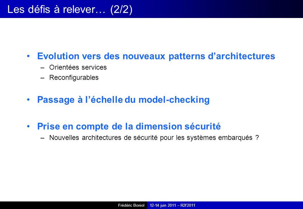 Frédéric Boniol12-14 juin 2011 – R2I2011 Les défis à relever… (2/2) Evolution vers des nouveaux patterns darchitectures –Orientées services –Reconfigu