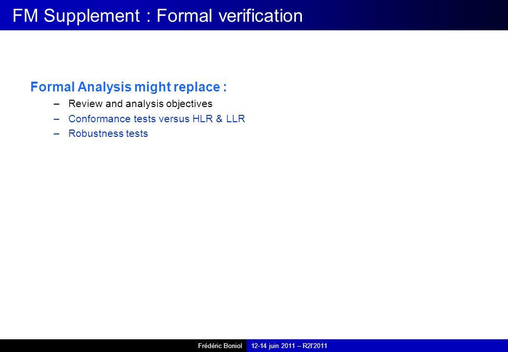 Frédéric Boniol12-14 juin 2011 – R2I2011 FM Supplement : Formal verification Formal Analysis might replace : –Review and analysis objectives –Conformance tests versus HLR & LLR –Robustness tests