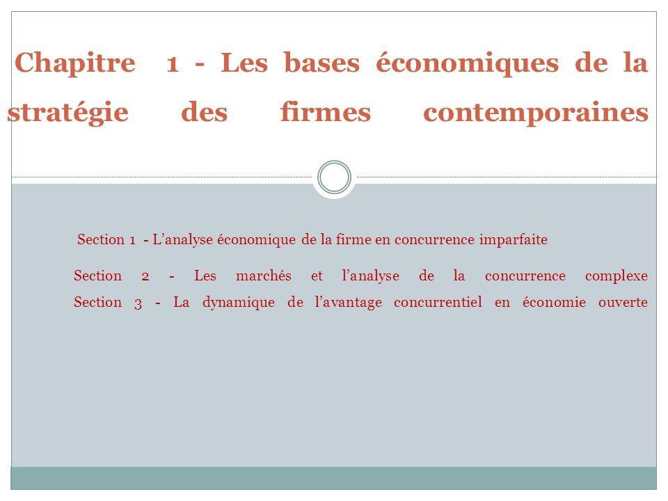 Chapitre 1 - Les bases économiques de la stratégie des firmes contemporaines Section 1 - Lanalyse économique de la firme en concurrence imparfaite Sec