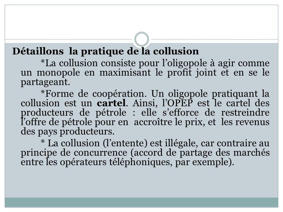 Détaillons la pratique de la collusion *La collusion consiste pour loligopole à agir comme un monopole en maximisant le profit joint et en se le parta