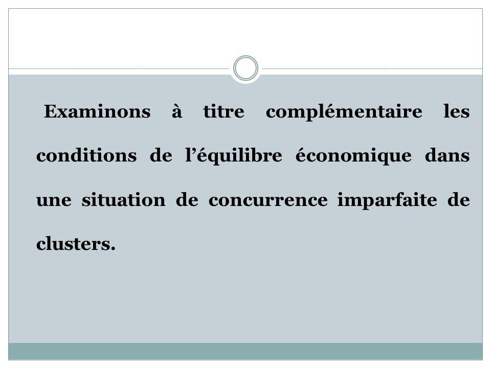 Examinons à titre complémentaire les conditions de léquilibre économique dans une situation de concurrence imparfaite de clusters.