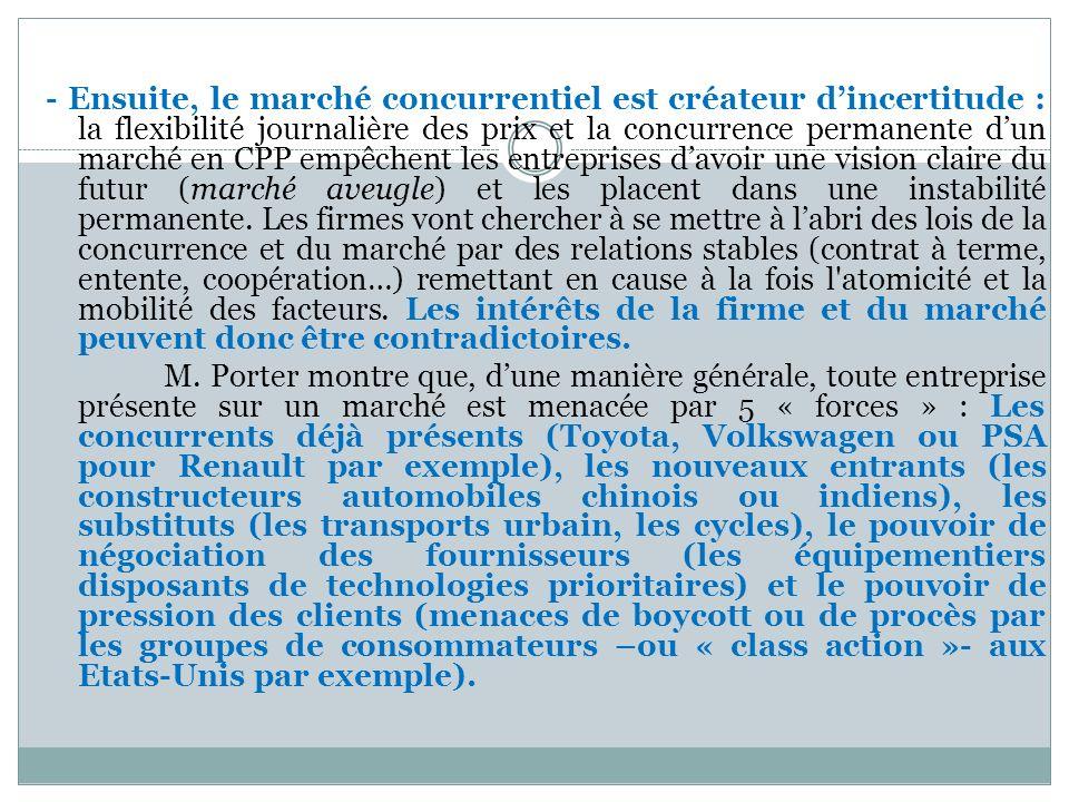 - Ensuite, le marché concurrentiel est créateur dincertitude : la flexibilité journalière des prix et la concurrence permanente dun marché en CPP empê