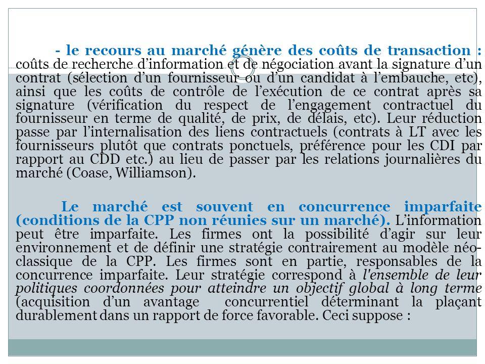 - le recours au marché génère des coûts de transaction : coûts de recherche dinformation et de négociation avant la signature dun contrat (sélection d