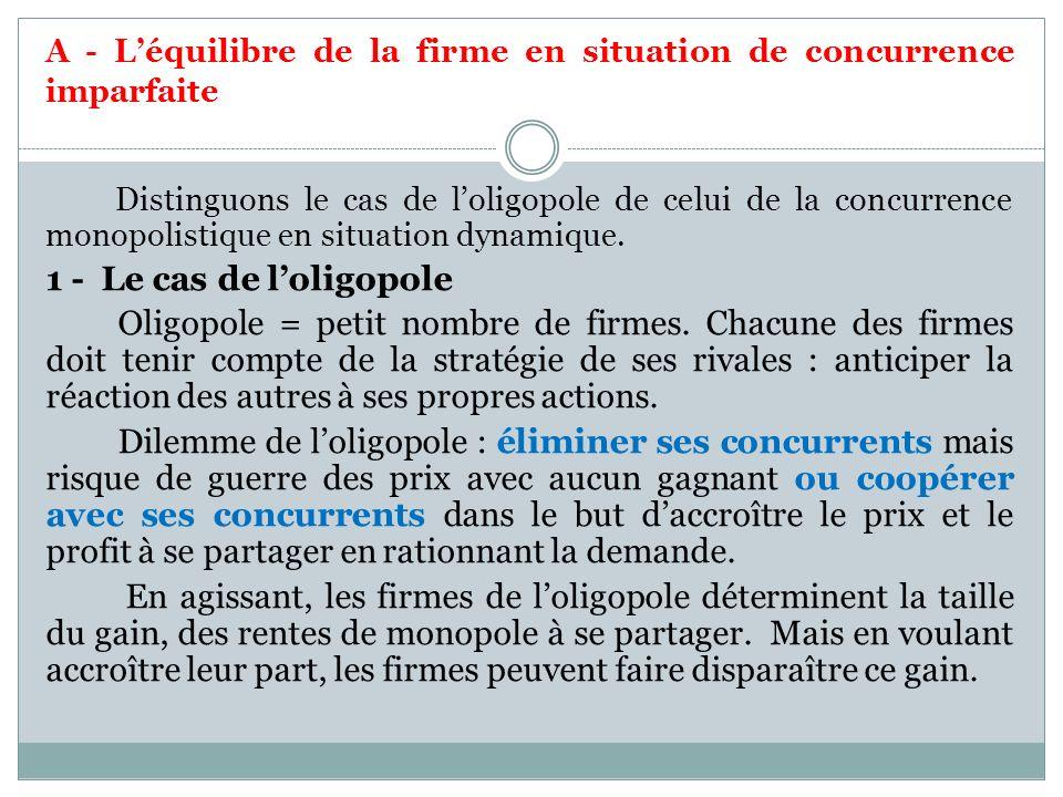 A - Léquilibre de la firme en situation de concurrence imparfaite Distinguons le cas de loligopole de celui de la concurrence monopolistique en situat