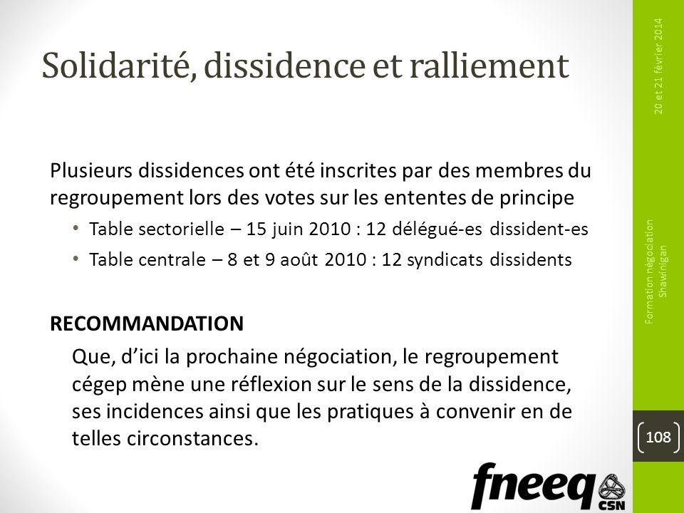 Solidarité, dissidence et ralliement Plusieurs dissidences ont été inscrites par des membres du regroupement lors des votes sur les ententes de princi