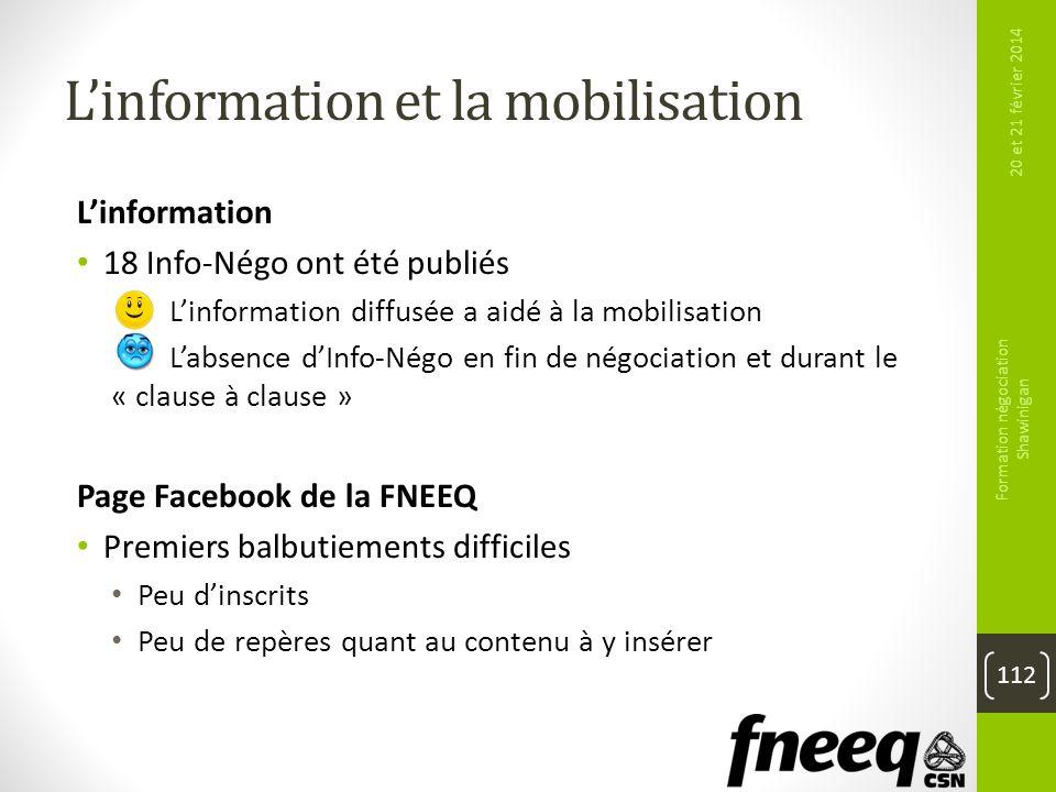 Linformation et la mobilisation Linformation 18 Info-Négo ont été publiés Linformation diffusée a aidé à la mobilisation Labsence dInfo-Négo en fin de