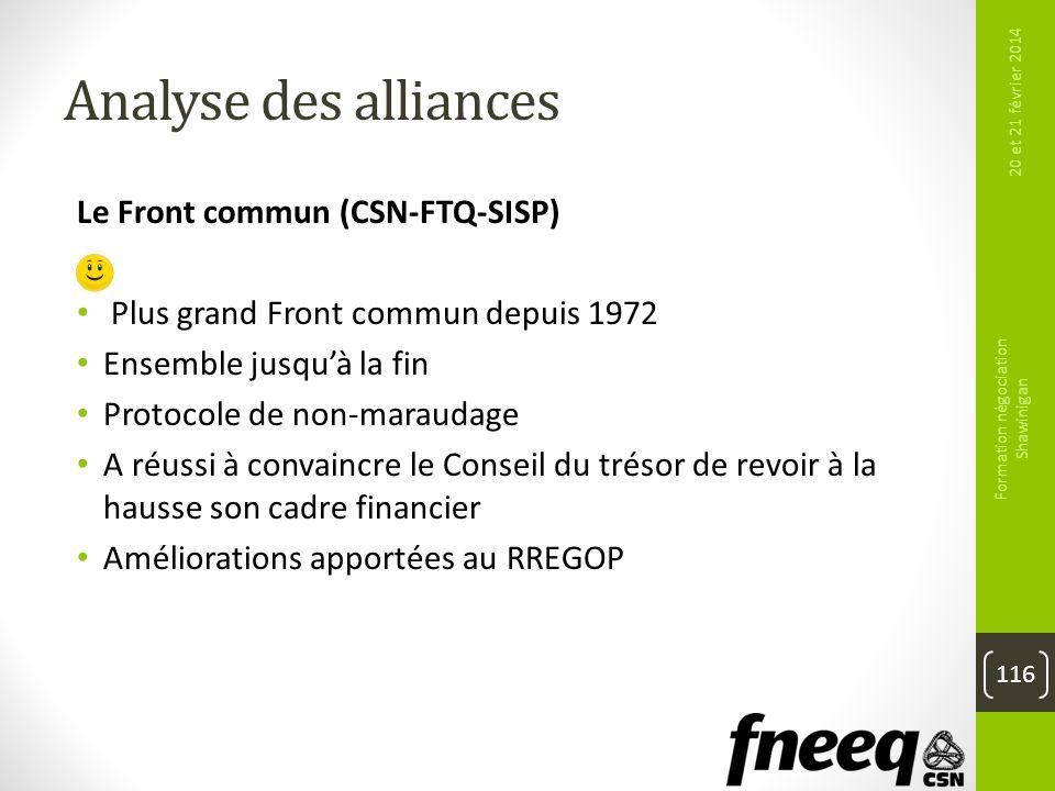 Analyse des alliances Le Front commun (CSN-FTQ-SISP) Plus grand Front commun depuis 1972 Ensemble jusquà la fin Protocole de non-maraudage A réussi à