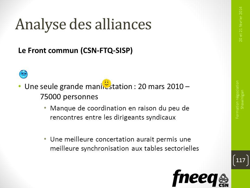 Analyse des alliances Le Front commun (CSN-FTQ-SISP) Une seule grande manifestation : 20 mars 2010 – 75000 personnes Manque de coordination en raison