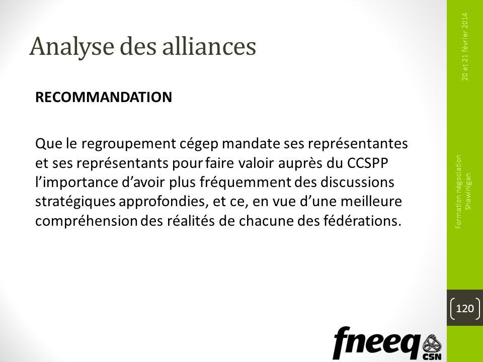 Analyse des alliances RECOMMANDATION Que le regroupement cégep mandate ses représentantes et ses représentants pour faire valoir auprès du CCSPP limpo