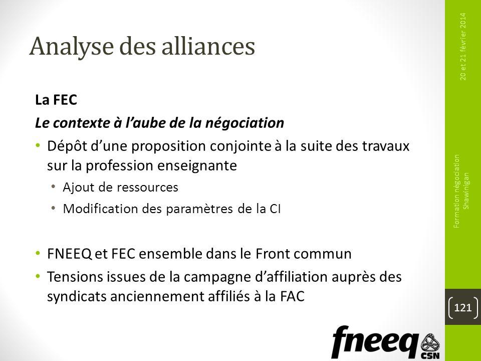 Analyse des alliances La FEC Le contexte à laube de la négociation Dépôt dune proposition conjointe à la suite des travaux sur la profession enseignan